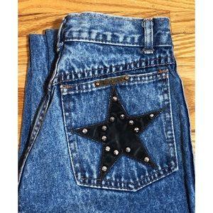 Rare Vintage Fancy Ass sz 25 Super High Rise Studded Stars 100% Cotton Jeans